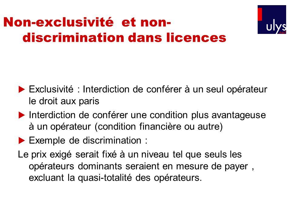 Non-exclusivité et non-discrimination dans licences