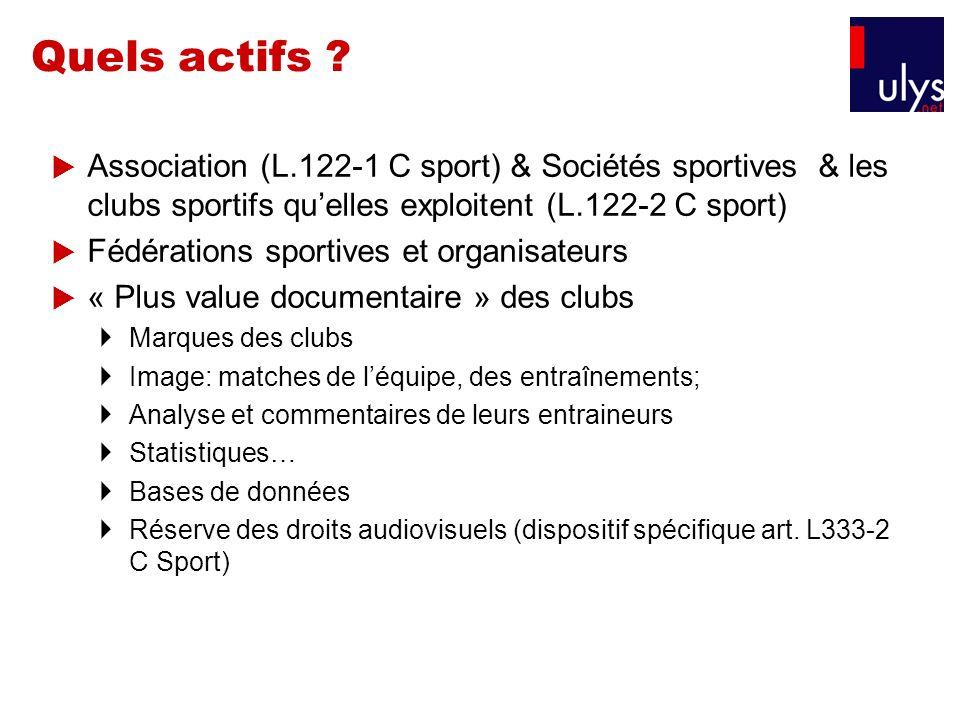 Quels actifs Association (L.122-1 C sport) & Sociétés sportives & les clubs sportifs qu'elles exploitent (L.122-2 C sport)