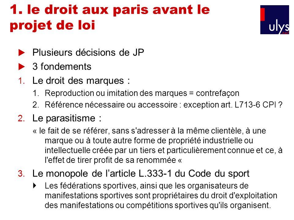 1. le droit aux paris avant le projet de loi