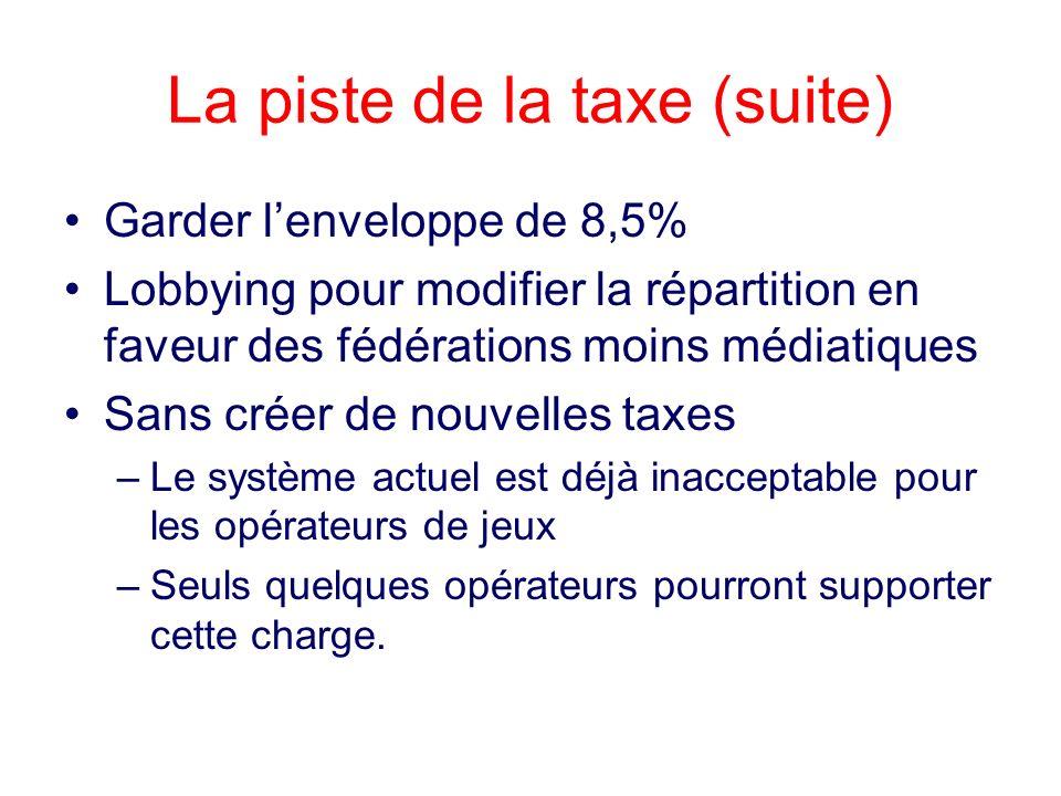 La piste de la taxe (suite)