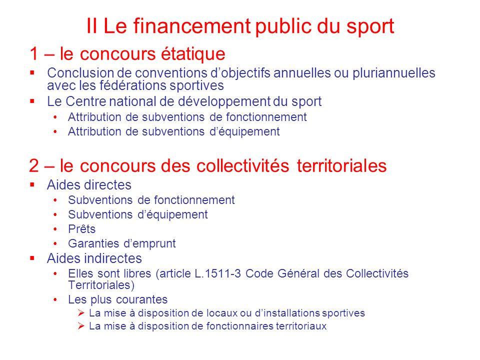 II Le financement public du sport
