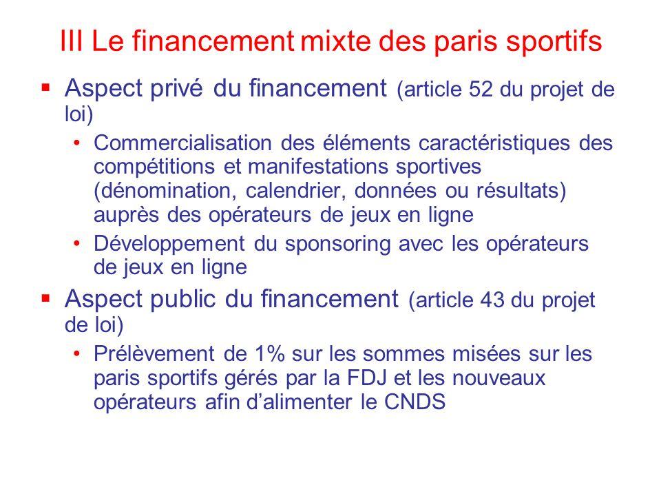 III Le financement mixte des paris sportifs