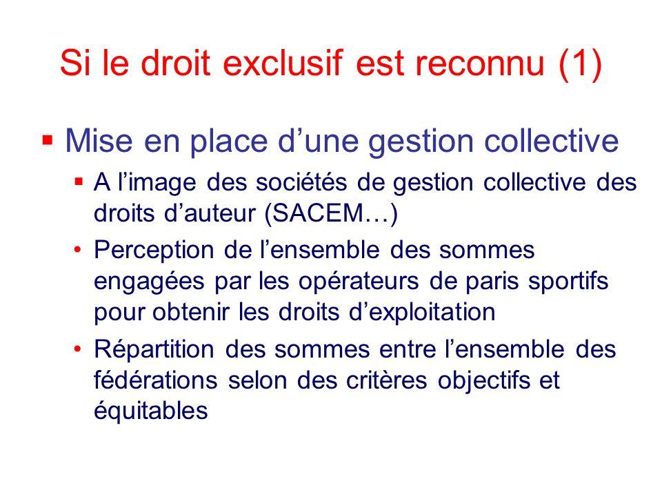 Si le droit exclusif est reconnu (1)