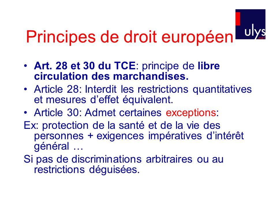 Principes de droit européen