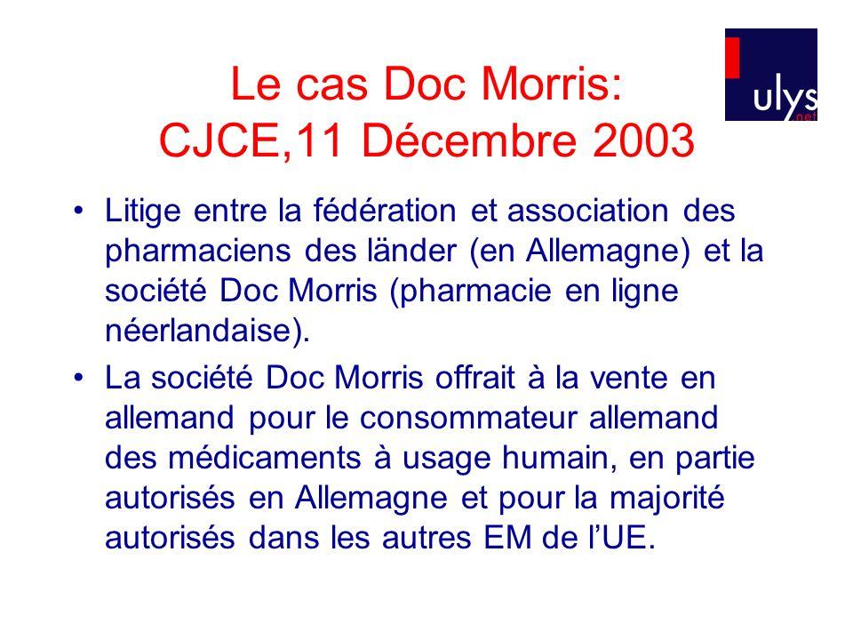 Le cas Doc Morris: CJCE,11 Décembre 2003