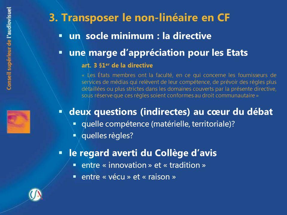 3. Transposer le non-linéaire en CF