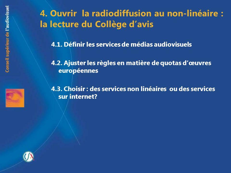 4. Ouvrir la radiodiffusion au non-linéaire : la lecture du Collège d'avis