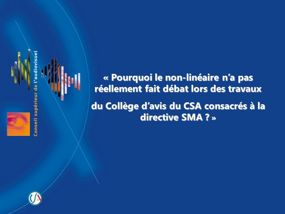 du Collège d'avis du CSA consacrés à la directive SMA »