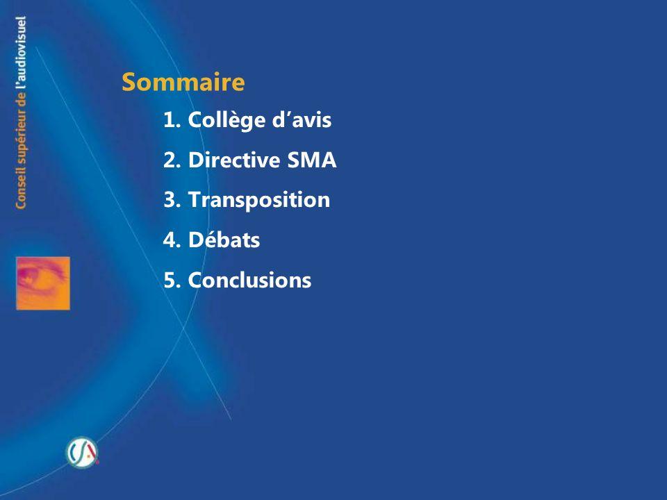 Sommaire 1. Collège d'avis 2. Directive SMA 3. Transposition 4. Débats