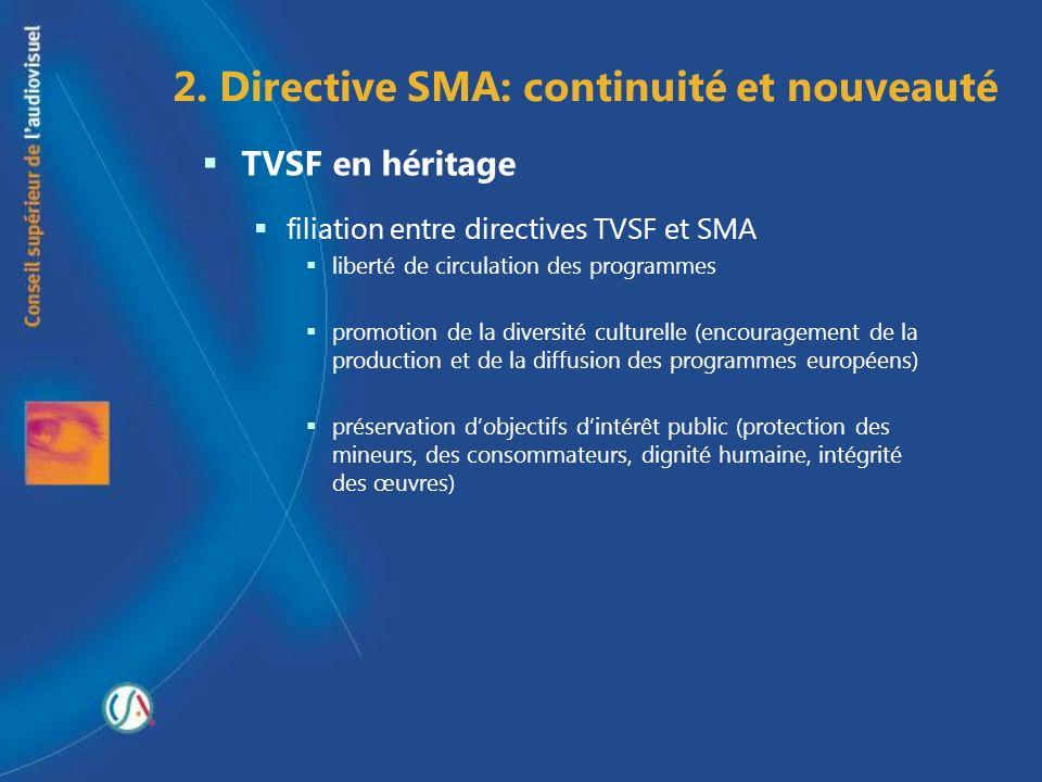 2. Directive SMA: continuité et nouveauté