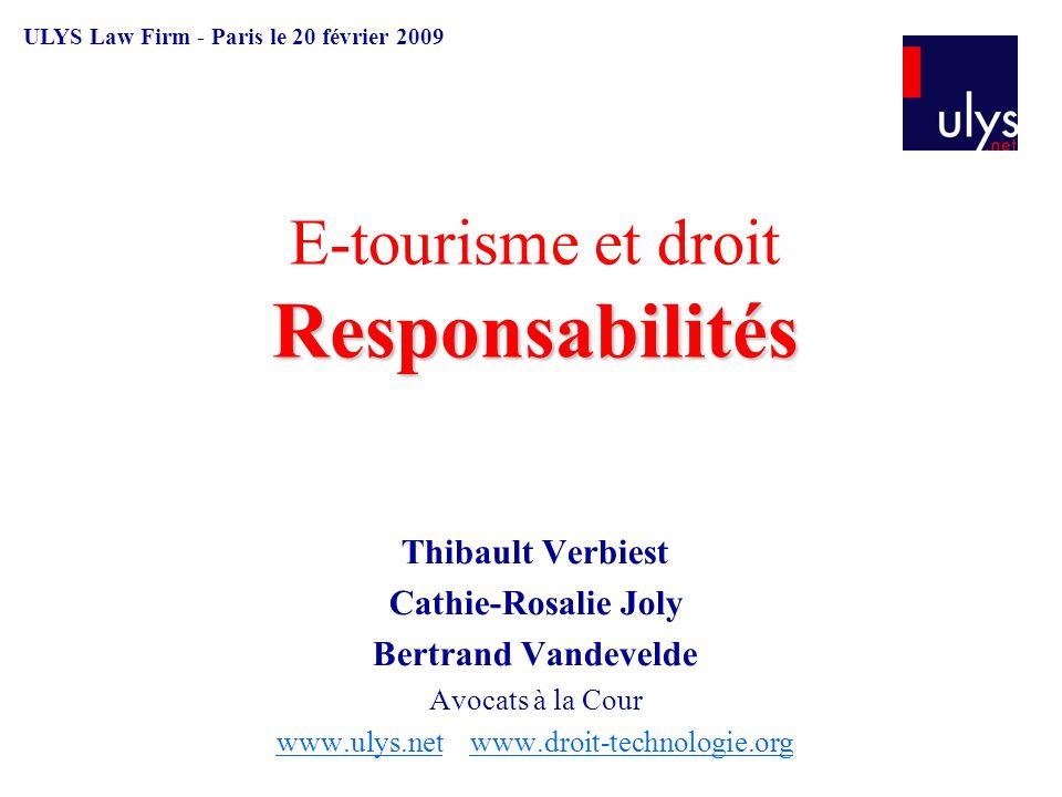 E-tourisme et droit Responsabilités