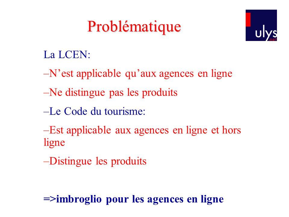 Problématique La LCEN: N'est applicable qu'aux agences en ligne