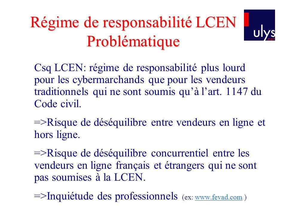 Régime de responsabilité LCEN Problématique