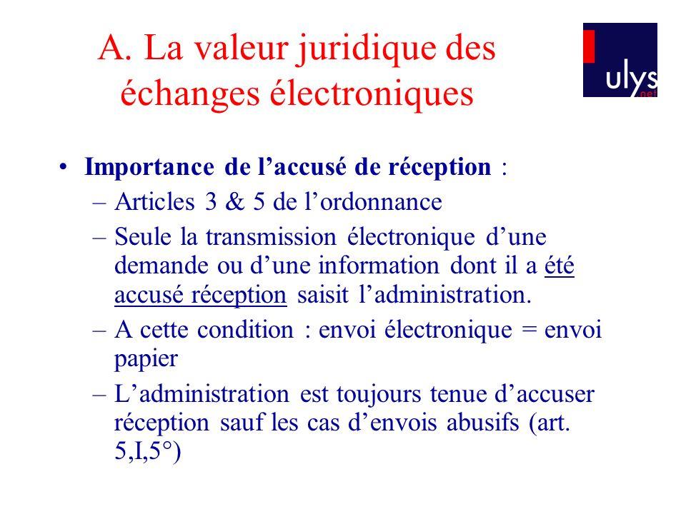 A. La valeur juridique des échanges électroniques