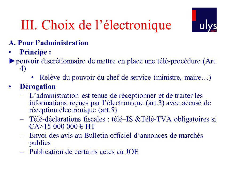 III. Choix de l'électronique