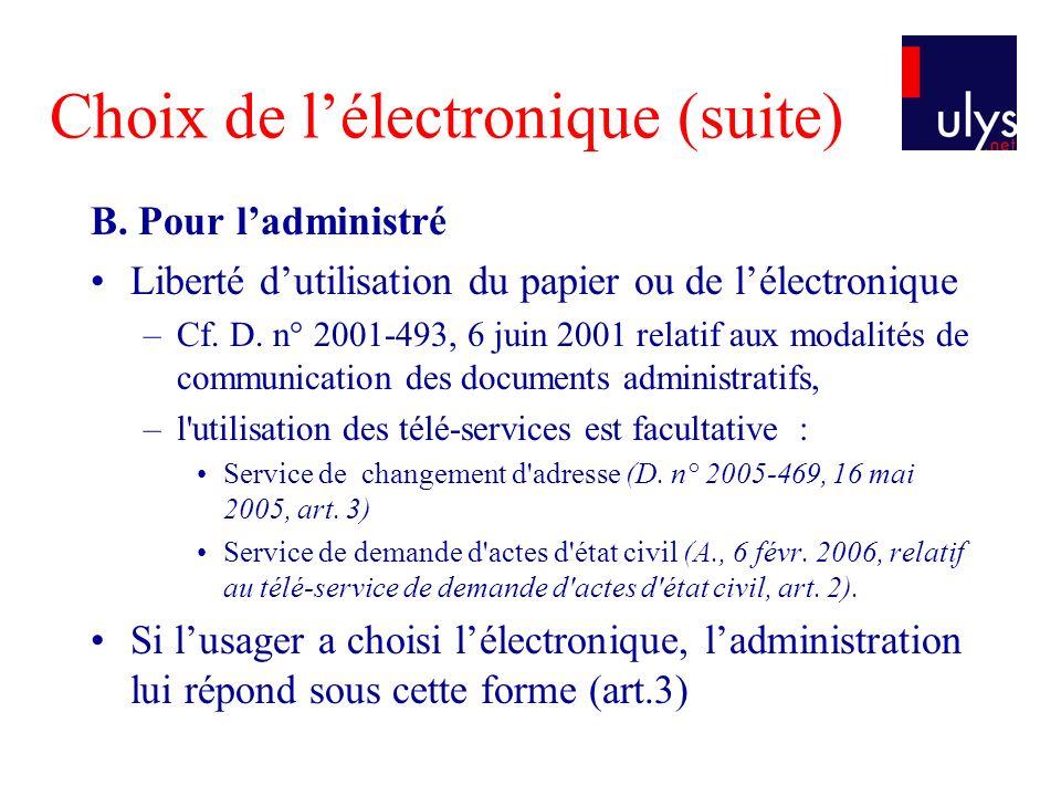 Choix de l'électronique (suite)