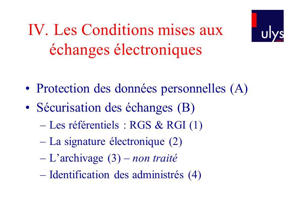 IV. Les Conditions mises aux échanges électroniques