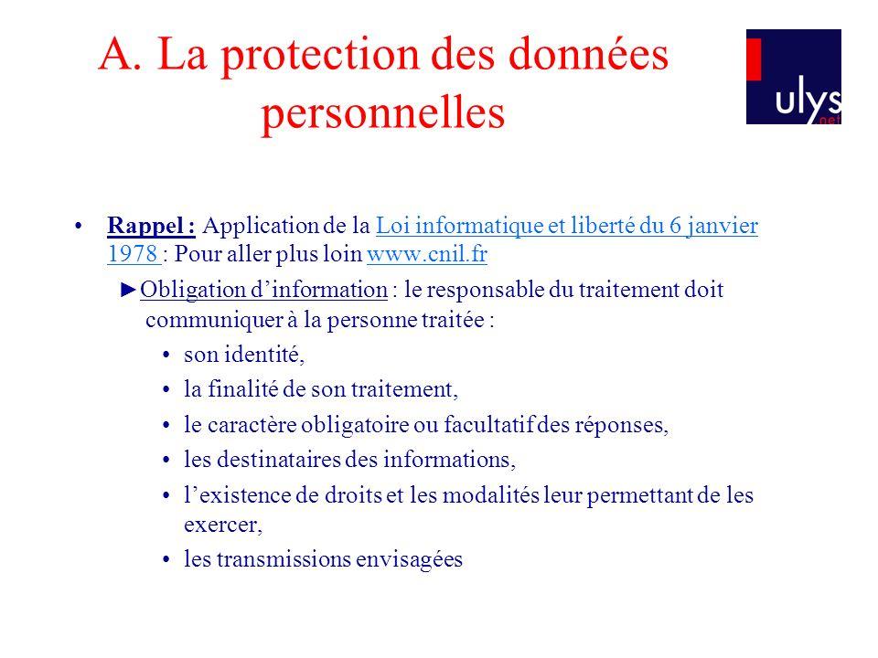 A. La protection des données personnelles