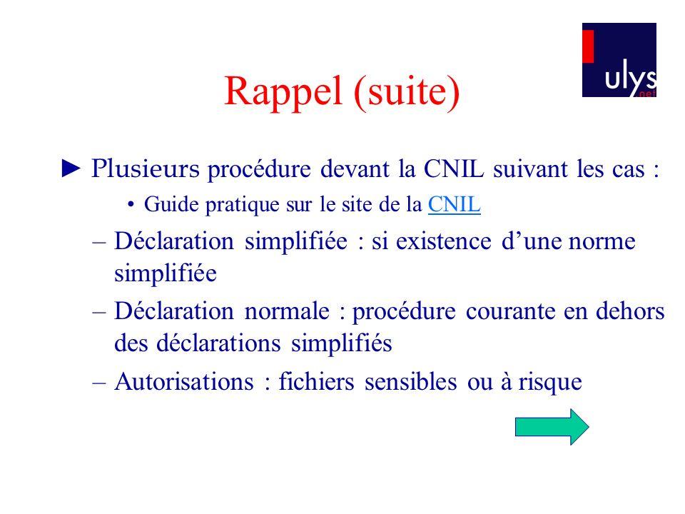 Rappel (suite) ► Plusieurs procédure devant la CNIL suivant les cas :