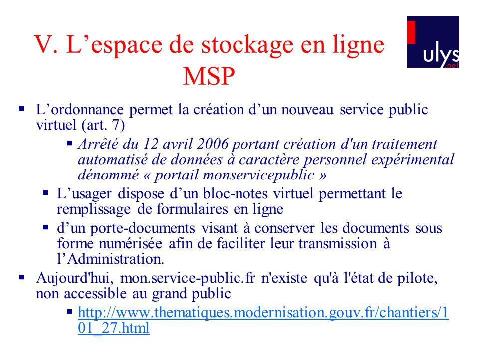 V. L'espace de stockage en ligne MSP