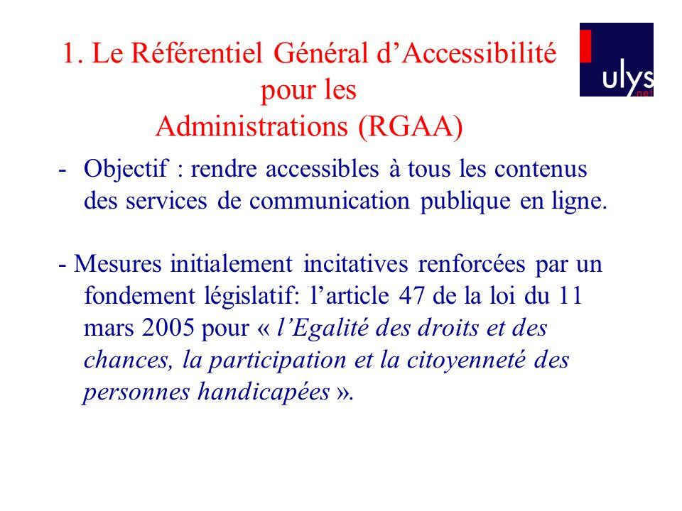 1. Le Référentiel Général d'Accessibilité pour les Administrations (RGAA)