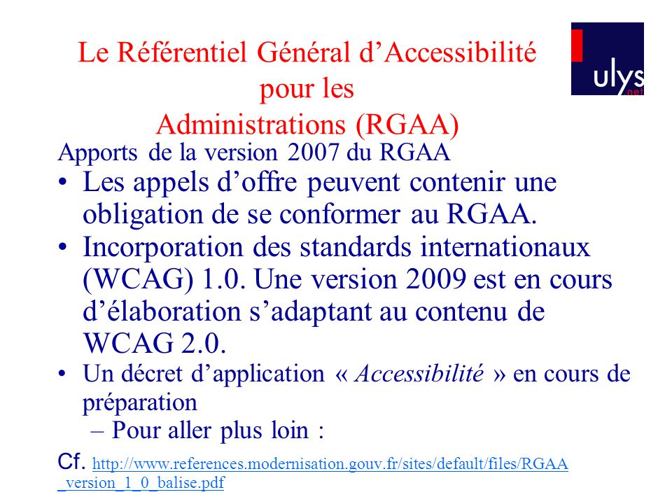 Le Référentiel Général d'Accessibilité pour les Administrations (RGAA)