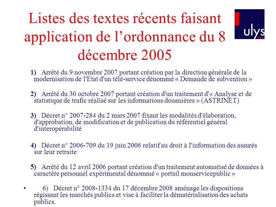 Listes des textes récents faisant application de l'ordonnance du 8 décembre 2005