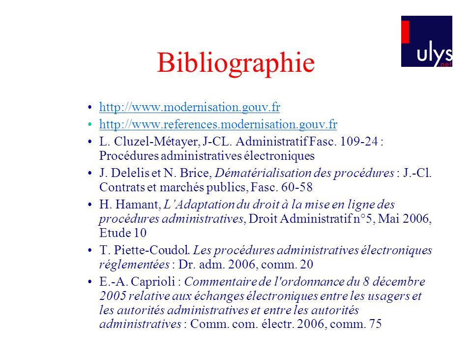 Bibliographie http://www.modernisation.gouv.fr