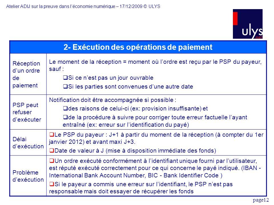 2- Exécution des opérations de paiement