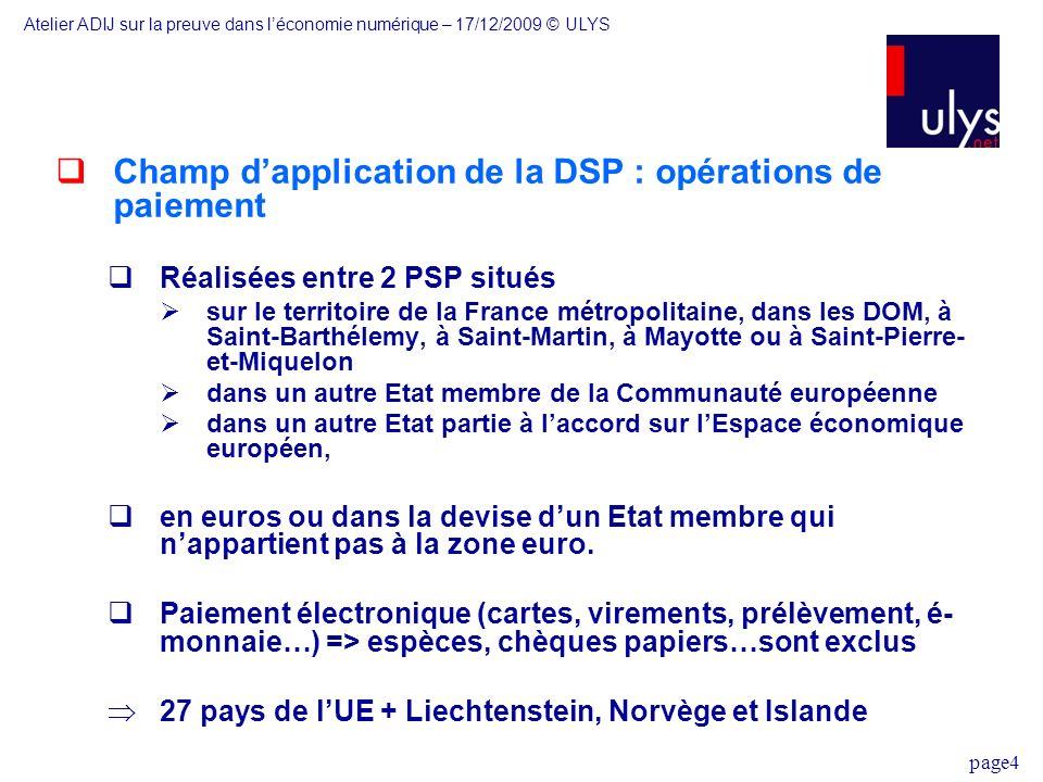 Champ d'application de la DSP : opérations de paiement