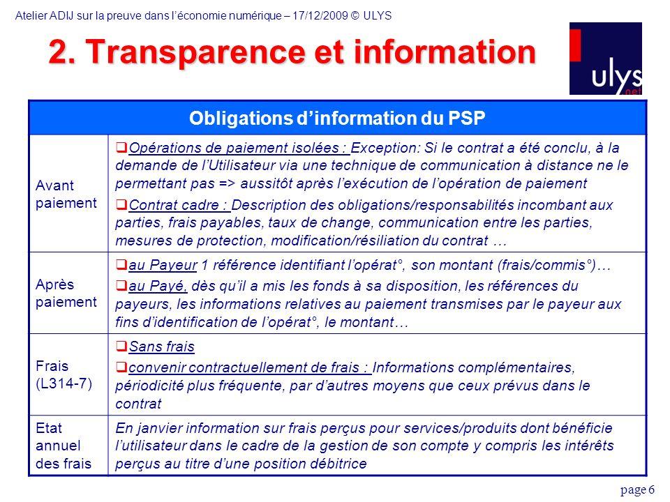 2. Transparence et information