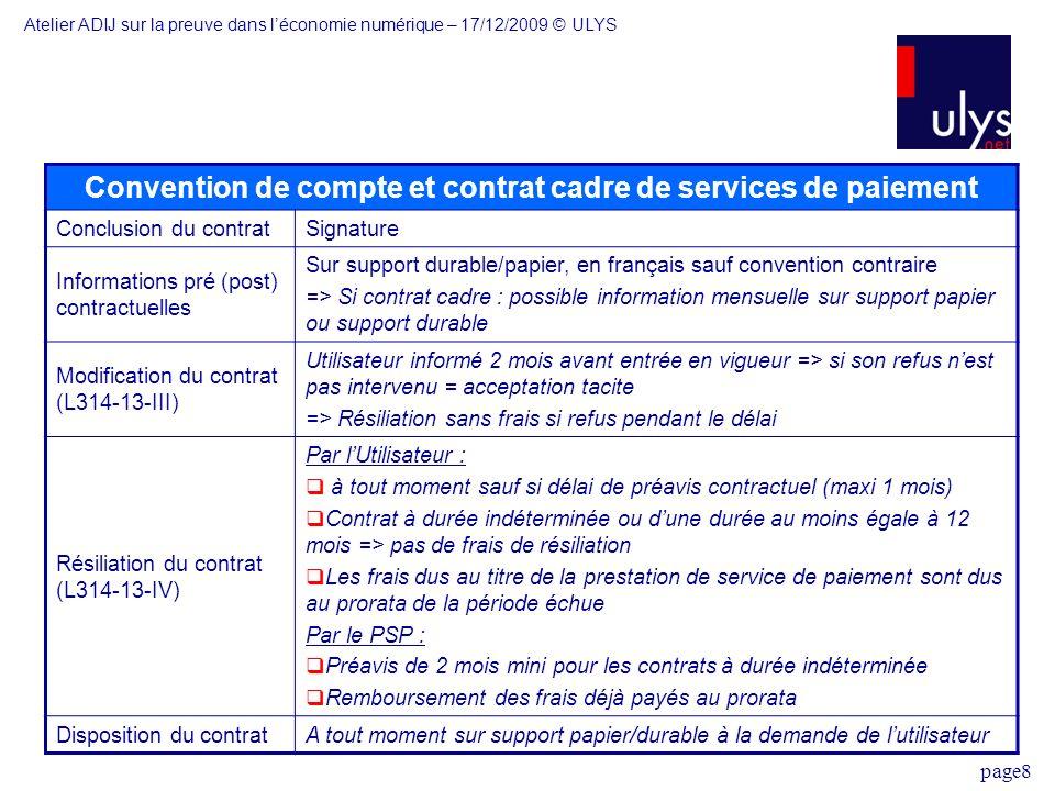 Convention de compte et contrat cadre de services de paiement
