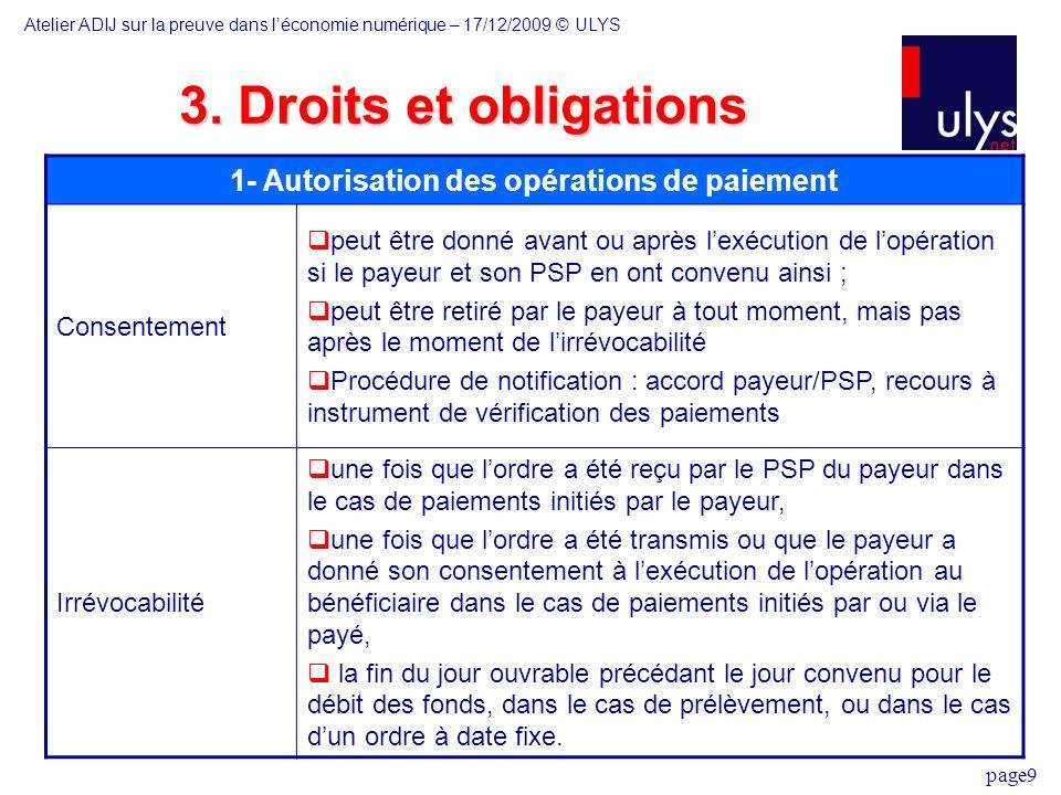 1- Autorisation des opérations de paiement