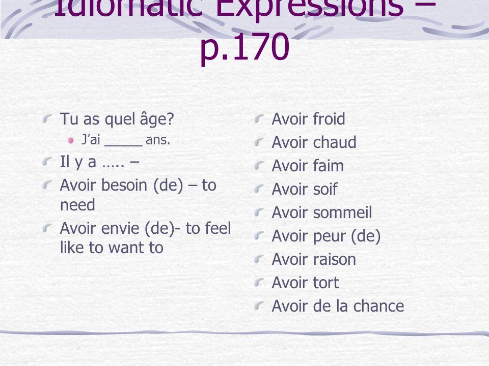 Idiomatic Expressions – p.170
