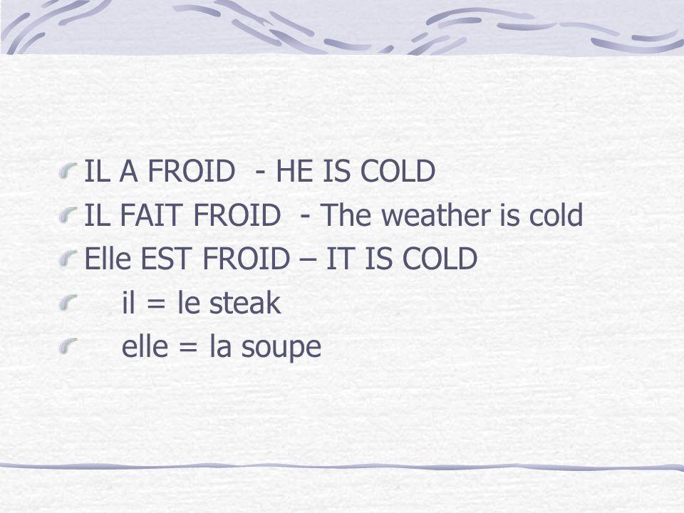 IL A FROID - HE IS COLDIL FAIT FROID - The weather is cold. Elle EST FROID – IT IS COLD. il = le steak.