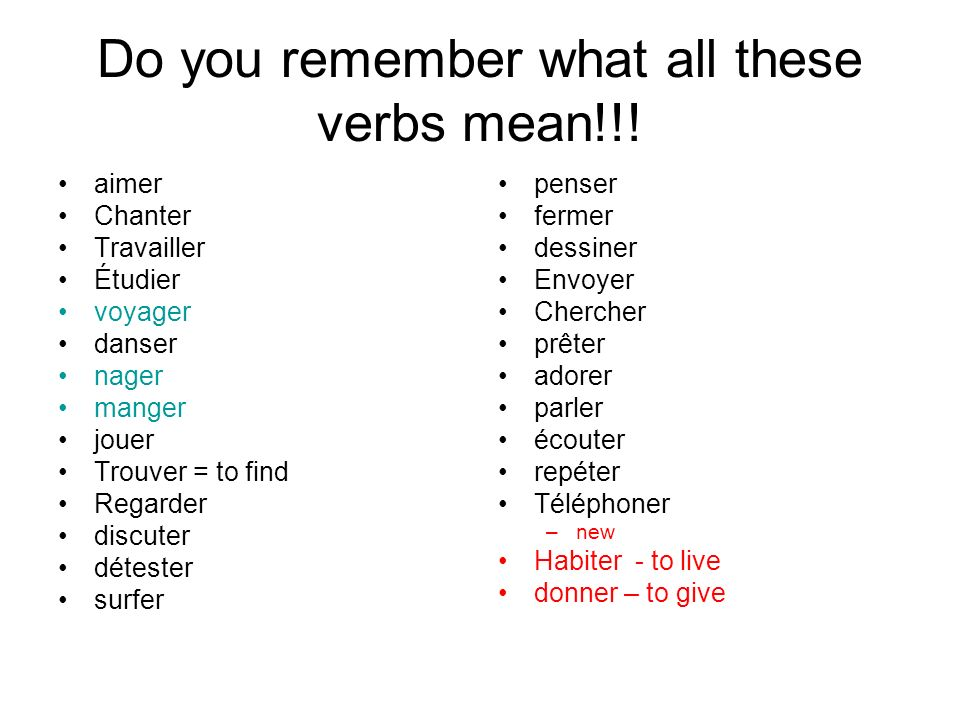 Do you remember what all these verbs mean!!!