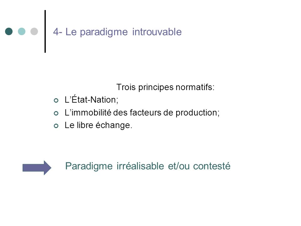 4- Le paradigme introuvable