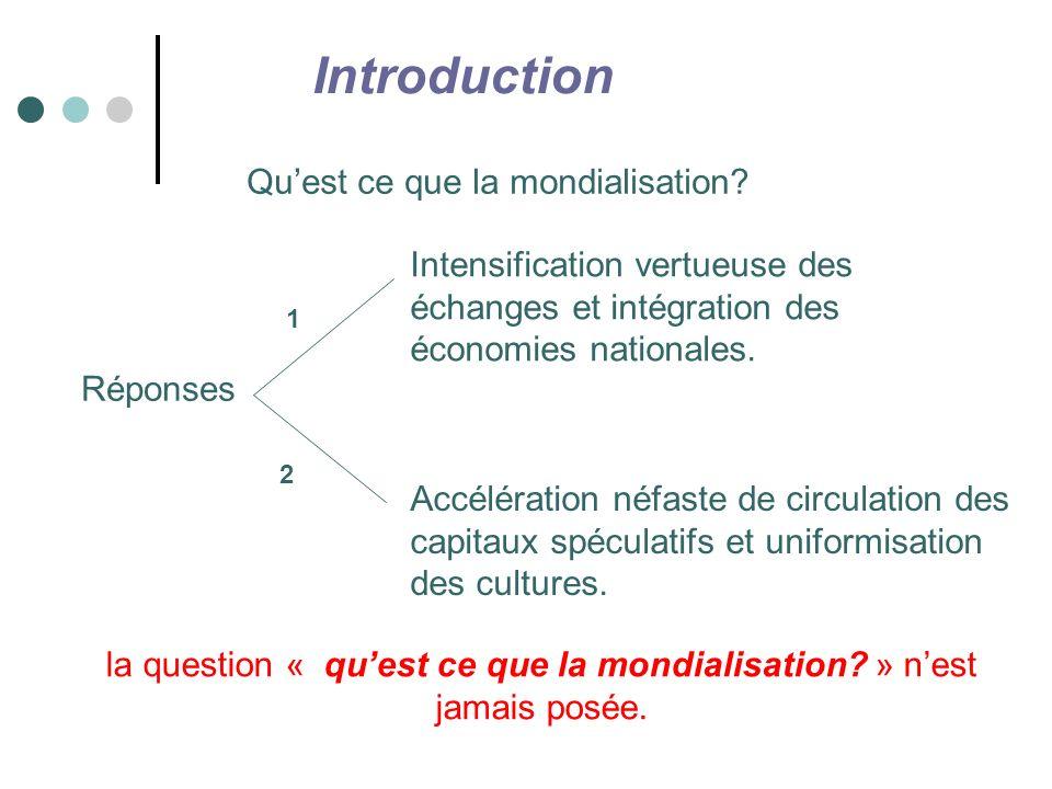 la question « qu'est ce que la mondialisation » n'est jamais posée.
