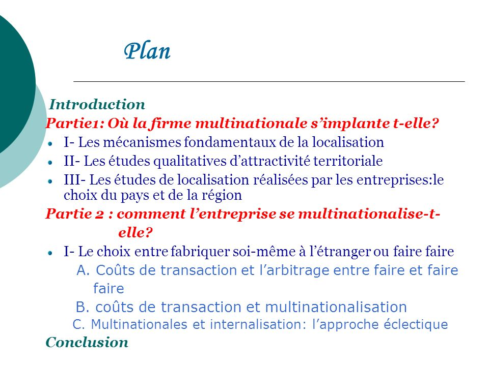 Plan Introduction. Partie1: Où la firme multinationale s'implante t-elle I- Les mécanismes fondamentaux de la localisation.