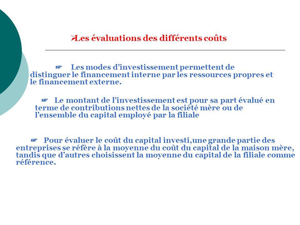 Les évaluations des différents coûts