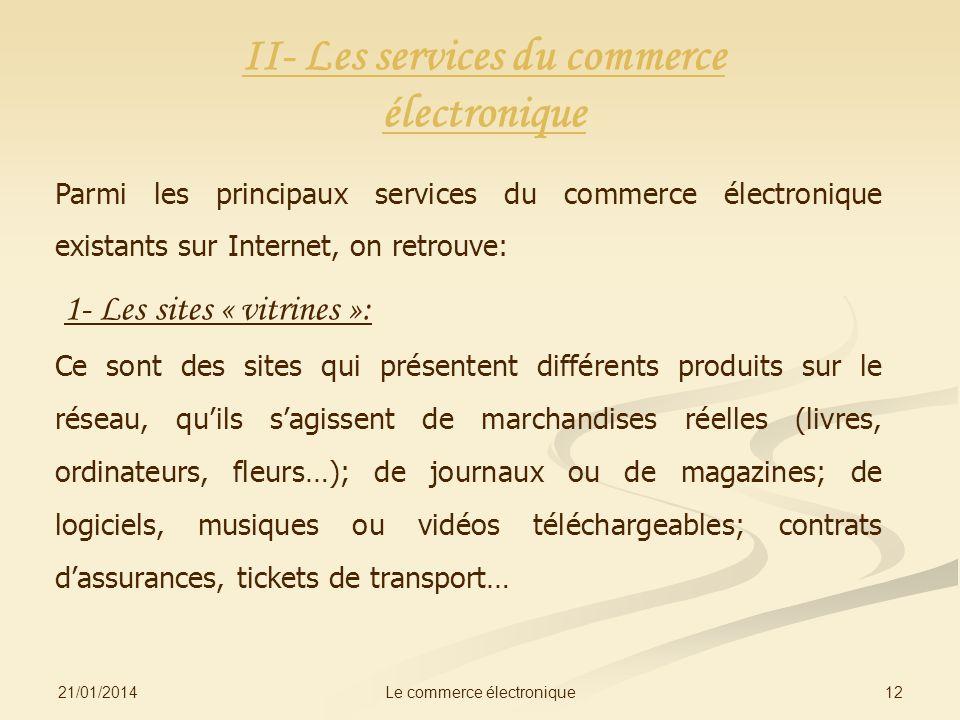 II- Les services du commerce électronique