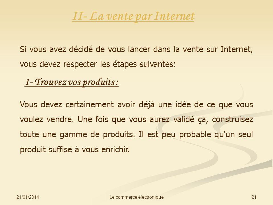 II- La vente par Internet