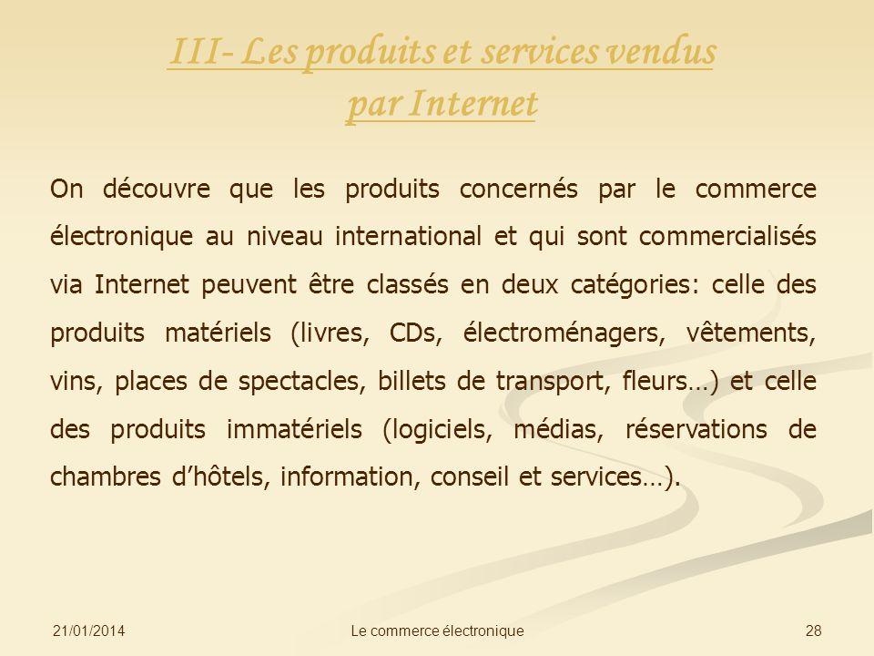 III- Les produits et services vendus par Internet