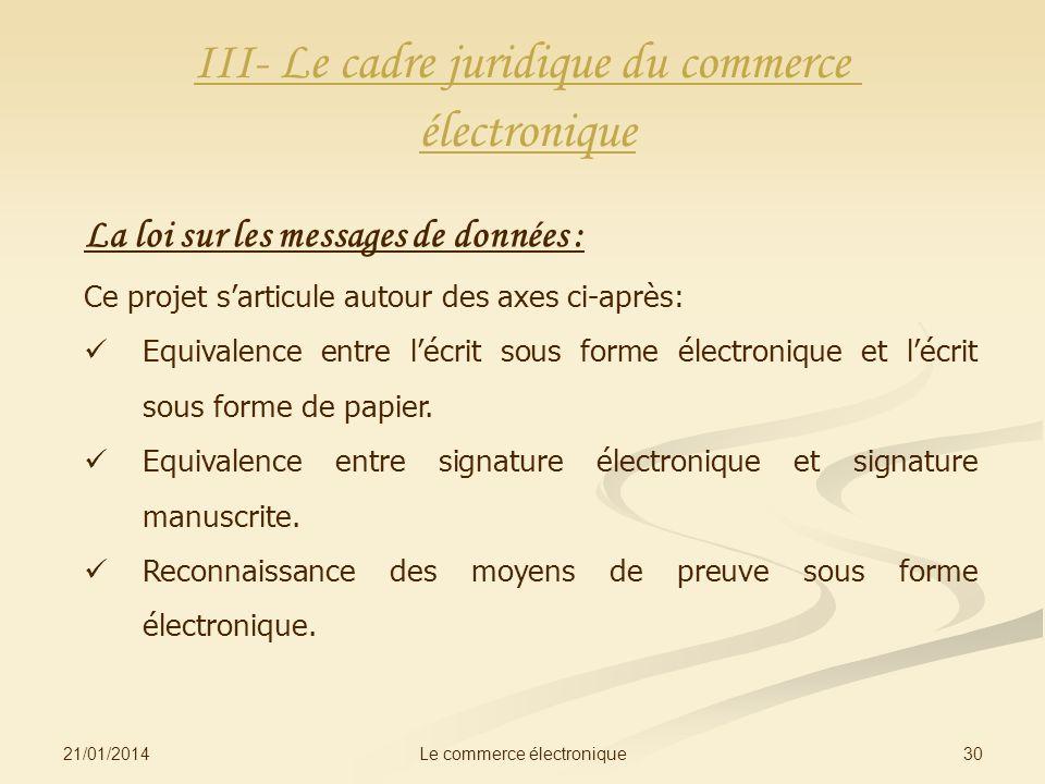 III- Le cadre juridique du commerce électronique