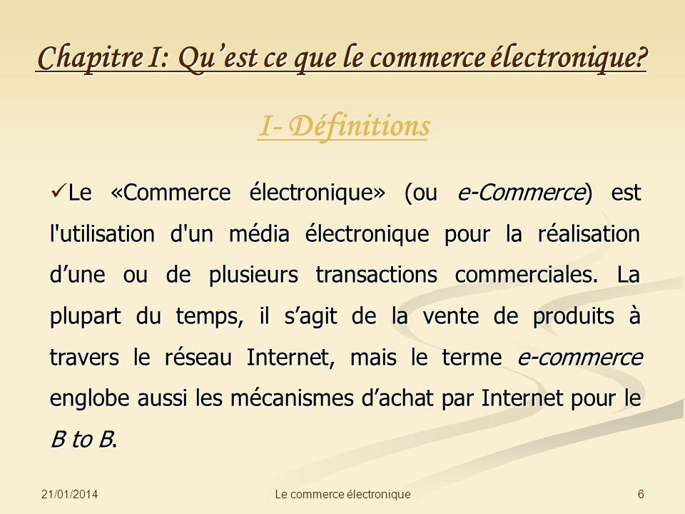 Chapitre I: Qu'est ce que le commerce électronique