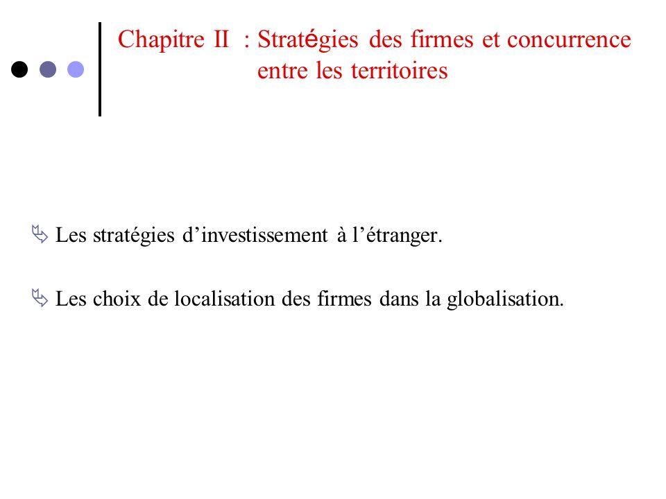 Chapitre II : Stratégies des firmes et concurrence