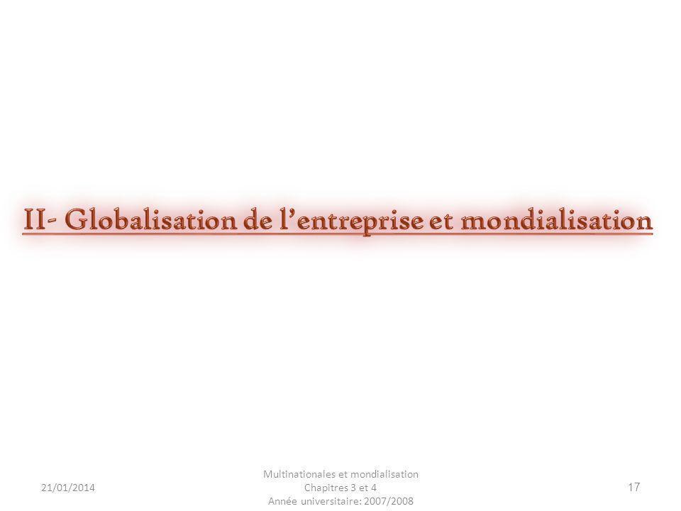 II- Globalisation de l'entreprise et mondialisation