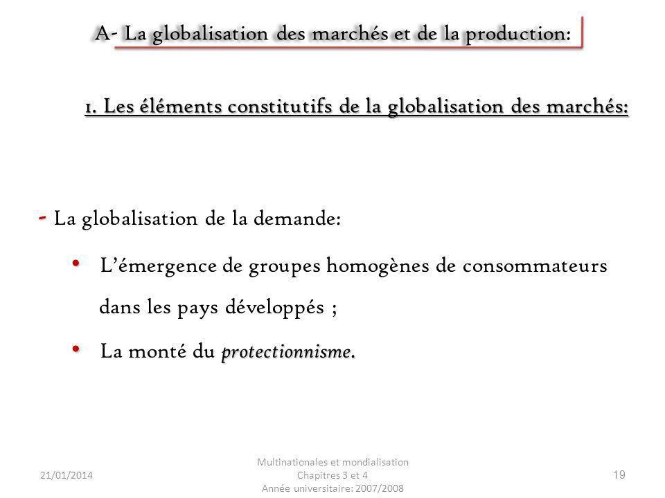 A- La globalisation des marchés et de la production: