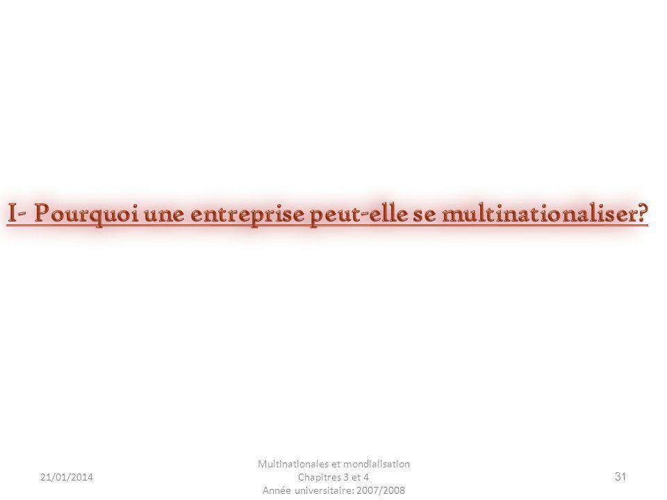 I- Pourquoi une entreprise peut-elle se multinationaliser