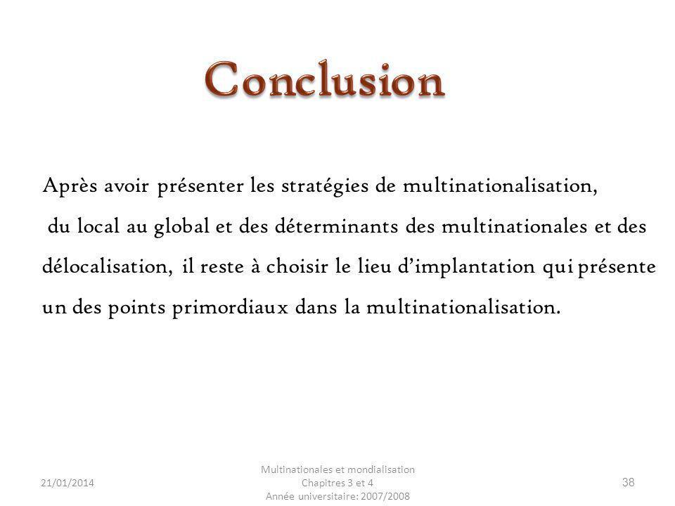 Conclusion Après avoir présenter les stratégies de multinationalisation, du local au global et des déterminants des multinationales et des.